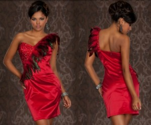 Robe Rouge avec Plumes
